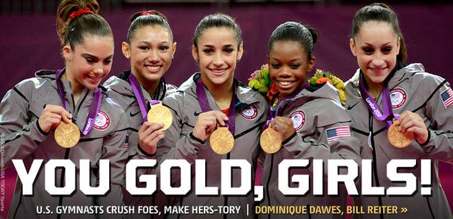 2012 London Summer Olympics: The United States of America, for only the second time in history, has won the women's gymnastics team gold medal.