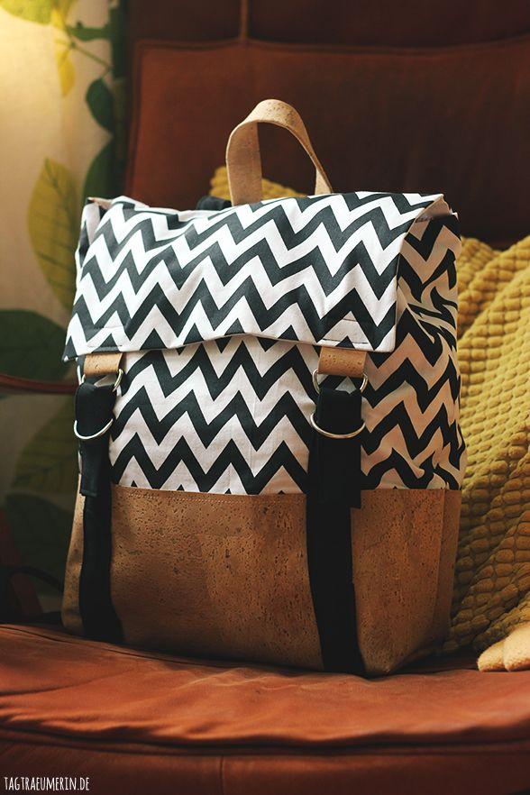 DIY-Rucksack mit Korkstoff - sieht aber auch super mit Leder aus!