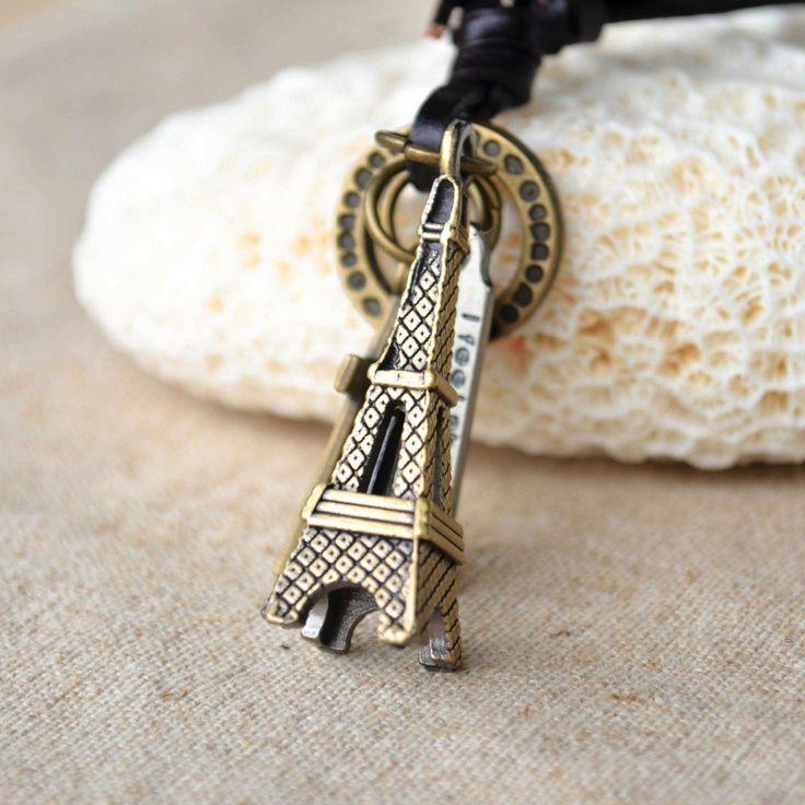 Эйфелева Башня крест кулон старинные цепи воротник кожа мужчин ожерелье женщины готический стимпанк подвески ювелирные изделия ретро аксессуары