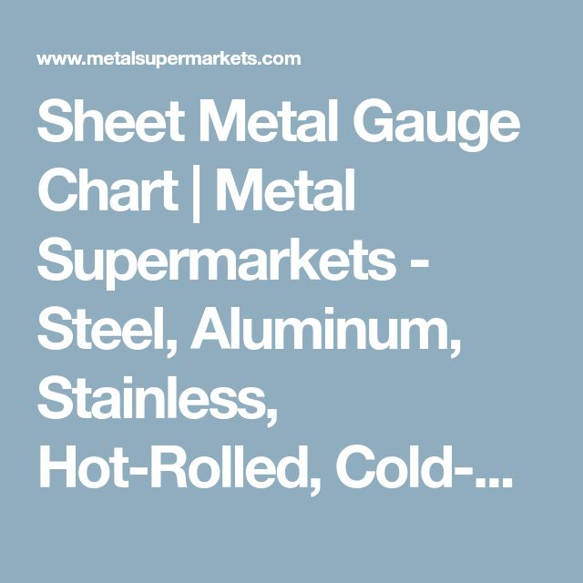 Sheet Metal Gauge Chart | Metal Supermarkets - Steel, Aluminum, Stainless, Hot-Rolled, Cold-Rolled, Alloy, Carbon, Galvanized, Brass, Bronze, Copper