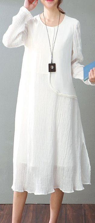 8ac99d988dac vintage white cotton linen maxi dress Loose fitting O neck baggy dresses  New long sleeve patchwork dresses2