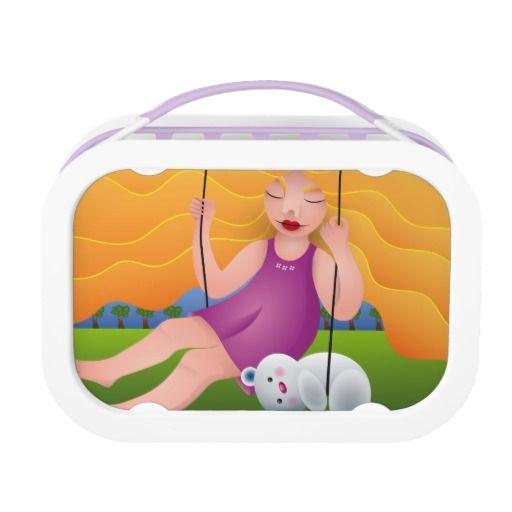 Hermosa chica en columpio con su oso. Girl and her bear. Producto disponible en tienda Zazzle. Product available in Zazzle store. Regalos, Gifts. Link to product: http://www.zazzle.com/hermosa_chica_en_columpio_con_su_oso_lunch_box-256456777306811460?CMPN=shareicon&lang=en&social=true&rf=238167879144476949 #lonchera #LunchBox