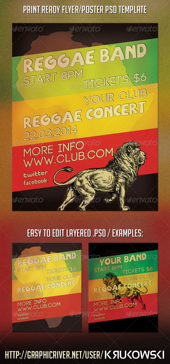 Reggae Concert Flyer by Krukowski Reggae Concert Flyer Template Great to promote Concert or Party in your clubPSD Print Template: Easy to edit layered psd file Onl