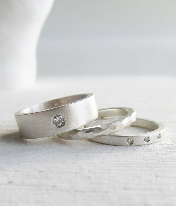 Hey, I found this really awesome Etsy listing at http://www.etsy.com/listing/122592565/modern-engagment-ring-wedding-band