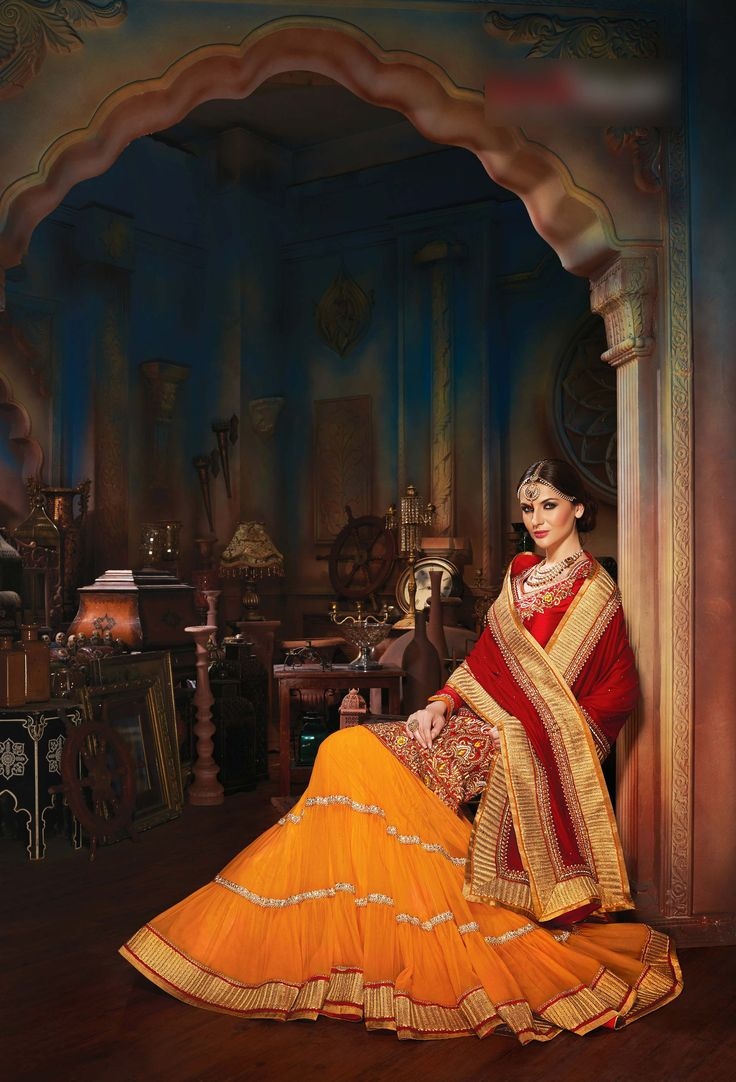 Ravishing Orange & Maroon #Lehenga Choli Set  Product Code: C16LC010F For more details visit, http://www.fabethnic.com/ravishing-orange-amp-maroon-lehenga-choli-set or email us with product code on info@fabethnic.com #indianwedding