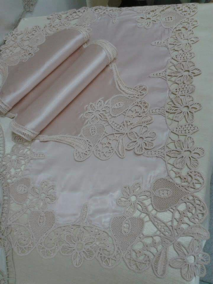 Romanian Point Lace Crochet with satin fabric