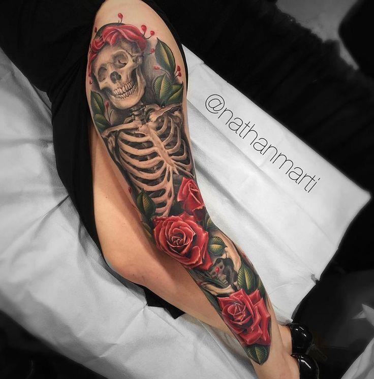 Skeleton & Roses Leg Sleeve | Best tattoo ideas & designs