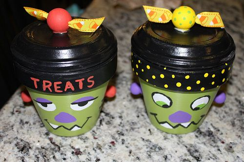 Monster candy dishes from flower pots