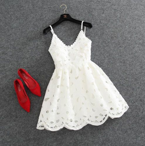 Cute white lace short prom dress, lace homecoming dress, cocktail dress