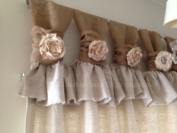 Burlap Drop cloth Wide ruched tabs curtains- Tea dyed rosette by RusticChicTogether on Etsy https://www.etsy.com/listing/194061202/burlap-drop-cloth-wide-ruched-tabs