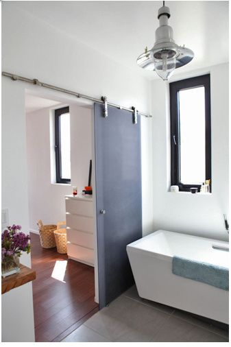 Translucent Sliding Doors With Exposed Hardware Increase Bathroom Space And  Light. Part 69