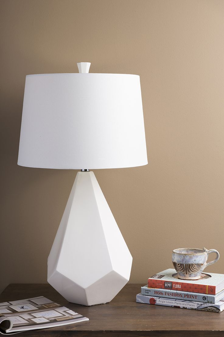 Attractive Top Selling All White Surya Table Lamp Has A Geometric Ceramic Base And  Classic White