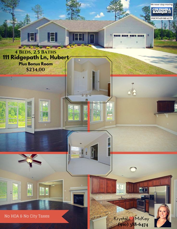>>>>FOR SALE<<<< ((New Construction))   Cure your case of the Monday's with this lovely home in Sudden Ridge~Hubert. It features 4 Beautiful bedrooms, 2 1/2 bathrooms a BONUS room.... and did you check out those floors????? Also, NO HOA or City Taxes!! Take that extra dough and fill your new home with a bunch of pretty stuff ;-)   http://www.cbfountainrealty.com/property/111-Ridgepath-Lane-Lot-12-Hubert-28539/JacksonvilleNC/176849/  Call me for your personal showing!  (910) 388-6474