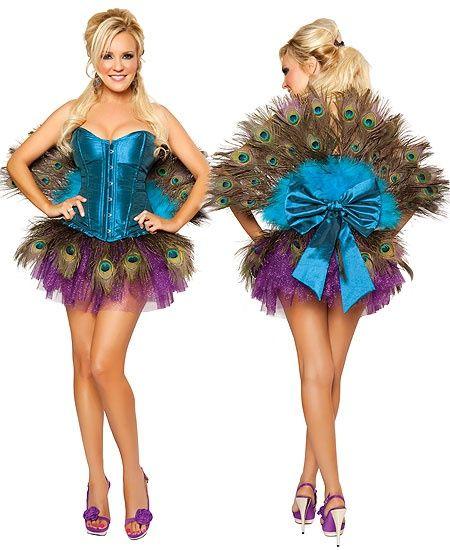 Sara! just wear  teal long sleeve shirt over it :) Peacock Halloween Costume