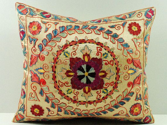 16x16 Vintage Hand Embroidered Uzbek Suzani Pillow ssp4_03