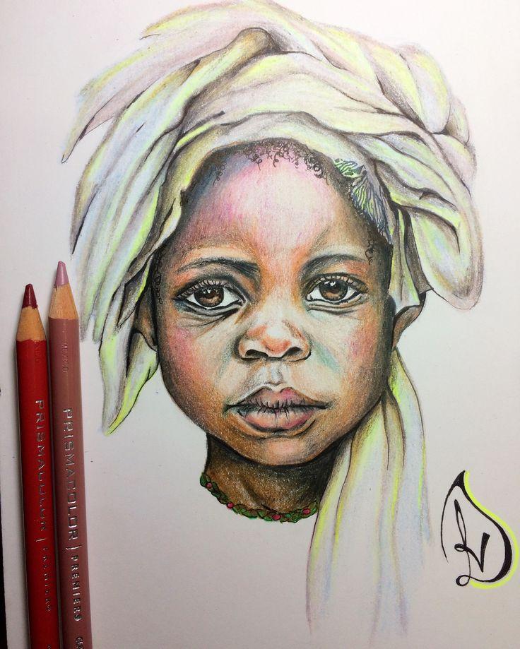 Niño africano a lápices prismacolor premier 👦🏾❤️ #africa #loveart