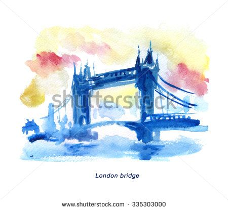 Watercolor hand drawn colorful illustration of London city view. Architecture touristic sightseeing. Good for memory postcard design, book or article illustration, poster sample or any graphic design. - stock photo