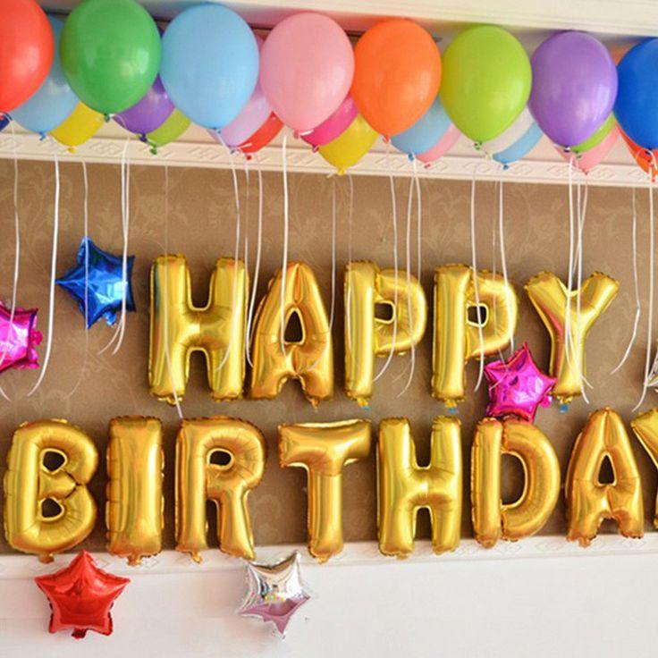 New Home Decor Cute Gold Alphabet Letters Balloons Happy Birthday Party Decoration Aluminum Foil Membrane Ballon #69780