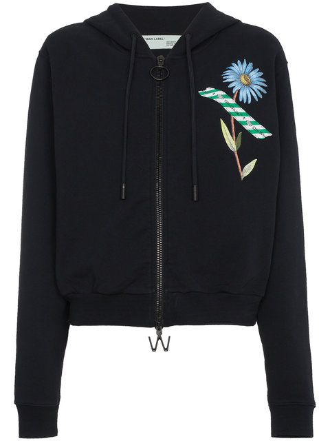 b8a1bf54cfa7 OFF-WHITE zip front floral tape print hoodie