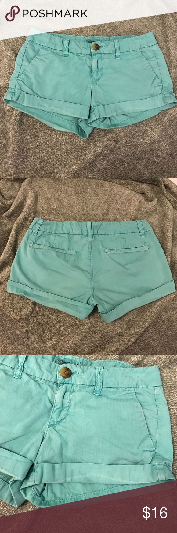 American eagle 00 turquoise shorts Great condition, light wear! Only defect is the slight discoloration from the crease in the shorts at the bottom from rolling. Shown in pictures. I'm sure it will come out with a wash and proper ironing! Very comfortable and cute for any summer day American Eagle Outfitters Shorts