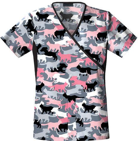 I could wear this on casual friday! All I have are navy scrubs! Cherokee Flexibles Camo inspired Dog and Cat Print Mock Wrap Scrub Top For Women
