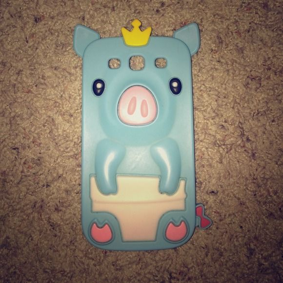 Galaxy S3 phone case! Blue pig with crown galaxy s3 silicon case! Accessories Phone Cases