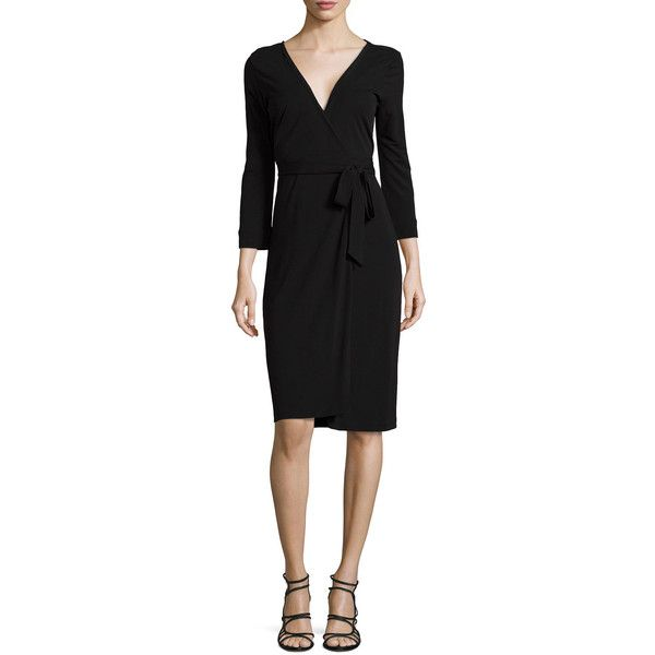 Diane von Furstenberg New Julian Two Matte Jersey Wrap Dress (£260) ❤ liked on Polyvore featuring dresses, black, wraparound dress, wrap dress, diane von furstenberg dresses, wrap around dress and matte jersey