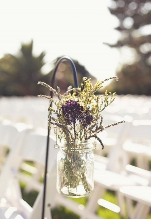 Lavender Wedding Decor, Mason Jar Decoration, Ceremony Lavender Decor    Could Do In Silver Tin Cans Or Clear Wine Bottles