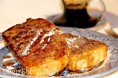Pain Perdue - Lost Bread aka French Toast. Thick slices of leftover bread, soaked in an egg, milk, sugar, salt and vanilla mixture and dusted with cinnamon sugar, pan fried for a crispy outer coating.