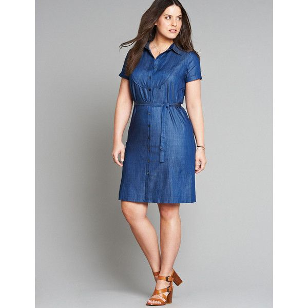 Manon Baptiste Dark-Blue Plus Size Belted denim shirt dress ($140) ❤ liked on Polyvore featuring dresses, plus size, western dresses, plus size womens formal dresses, denim western dress, plus size shirt dress and womens plus dresses