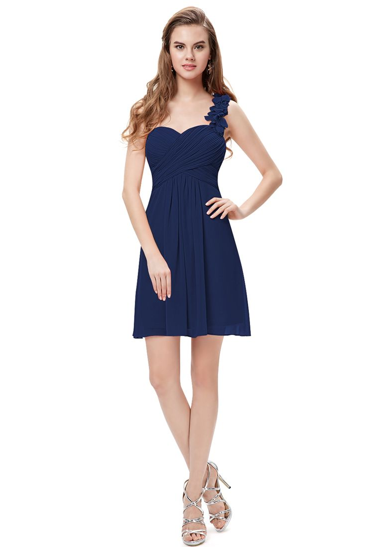 Navy Ruched Chiffon One Shoulder Short Dress - Short Chiffon Lace Dress.