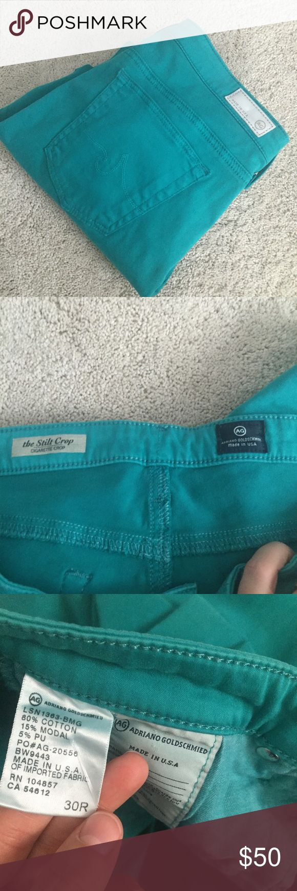 """Adriano goldschmied jeans Pretty teal colored Adriano goldschmied the stilt crop jeans. Perfect for spring and summer!  Inseam approx 25"""" as shown. AG Adriano Goldschmied Jeans Ankle & Cropped"""