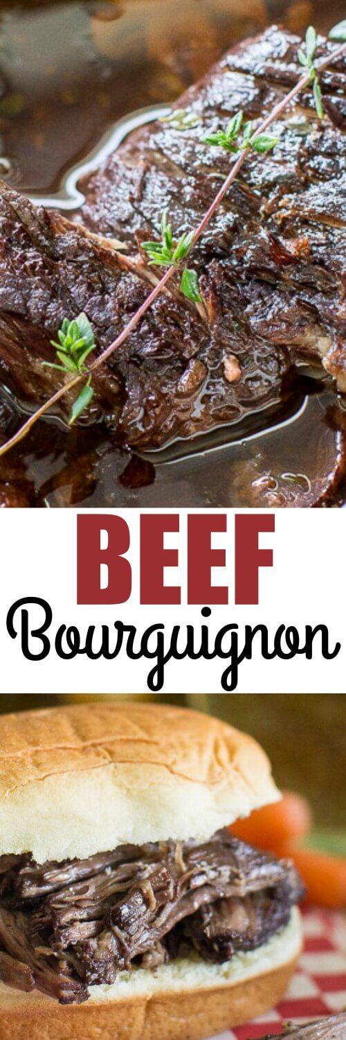 Need shredded beef for sandwiches? This easy Beef Bourguignon recipe roasts low and slow in a red wine sauce until it melts apart!