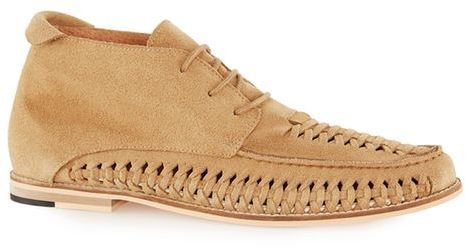 Sand Suede Woven Chukka Boots