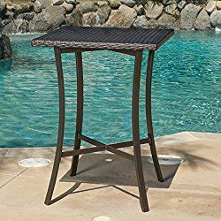 Modern, Traditiona Riga Outdoor Aluminum, Powder coated Iron, Wicker Patio Square Bar Table Is Weather Resistant And Great For Any Patio Decor