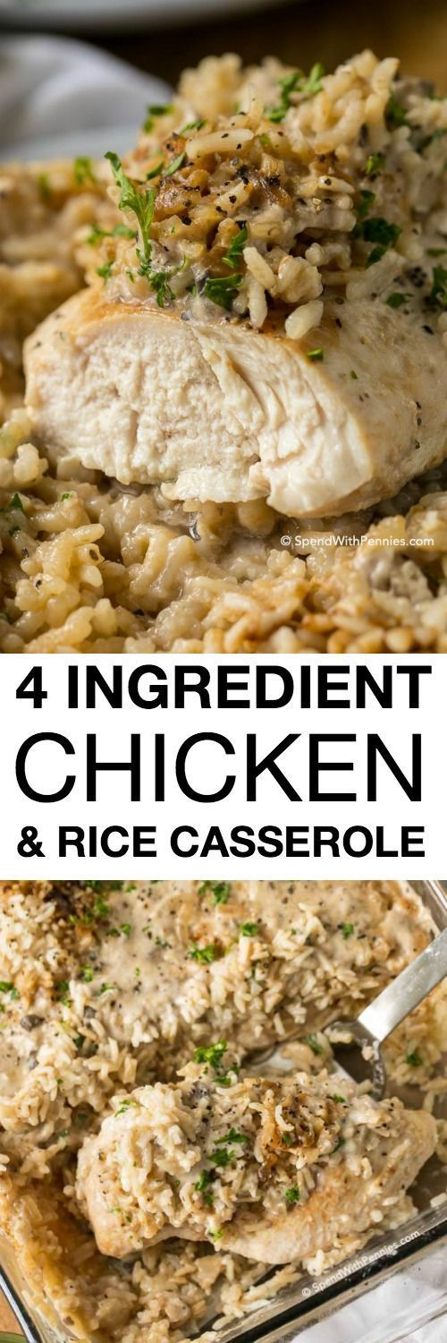 Ingredients 4 chicken breasts 1 cup long grain white rice, uncooked 1 package onion soup mix (or use homemade ) 1 can (10 oz) c...