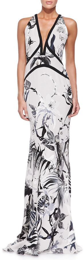 $1,197, White and Black Print Evening Dress: Roberto Cavalli Tropical Floral Print Gown Whiteblack. Sold by Neiman Marcus.