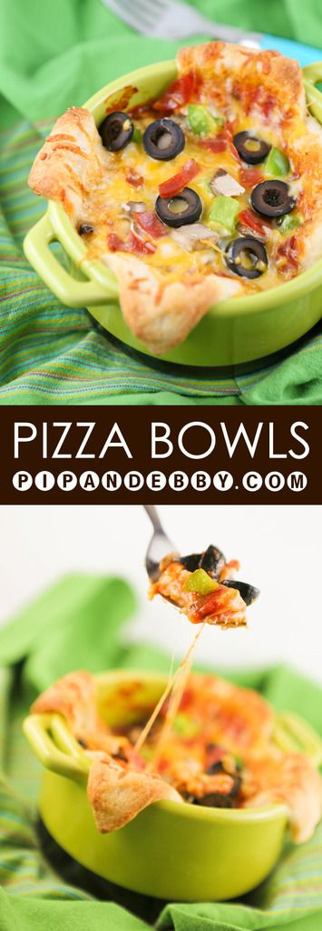 "Pizza Bowls (""Interesting Pizzas"") - This is the perfect kid dinner! Cute little Personal pizzas that can be eaten with a fork!"