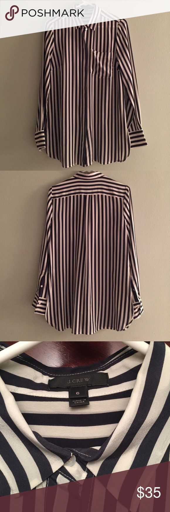 J Crew ivory and Black Striped Shirt Pretty j Crew striped silk shirt in excellent condition.  Size 6.  Longer oversized fit that is great tucked into Your favorite pencil skit or loose over skinny jeans or leggings. J. Crew Tops Button Down Shirts