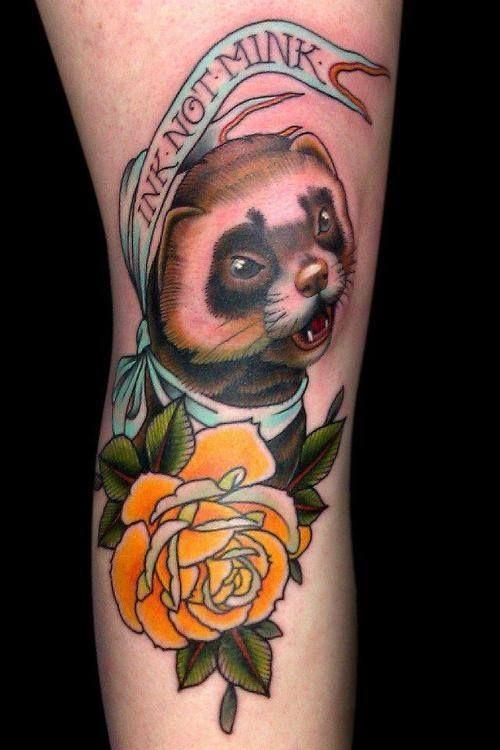 traditional ferret tattoo | Animal Tattoos
