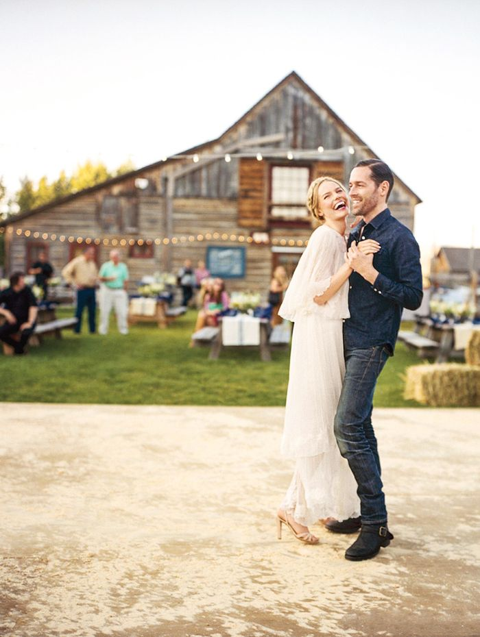 Kate Bosworth at her hoedown-themed rehearsal dinner in a sheer lace dress