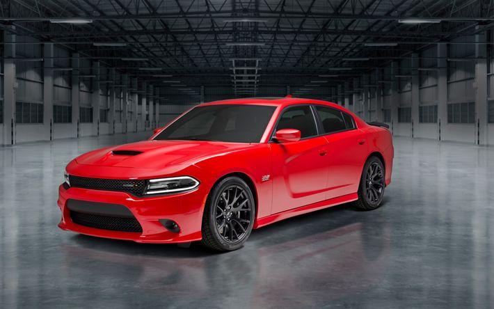 Descargar fondos de pantalla El Dodge Charger, 2018 coches, tuning, Super Scat Pack, rojo Charger, Dodge