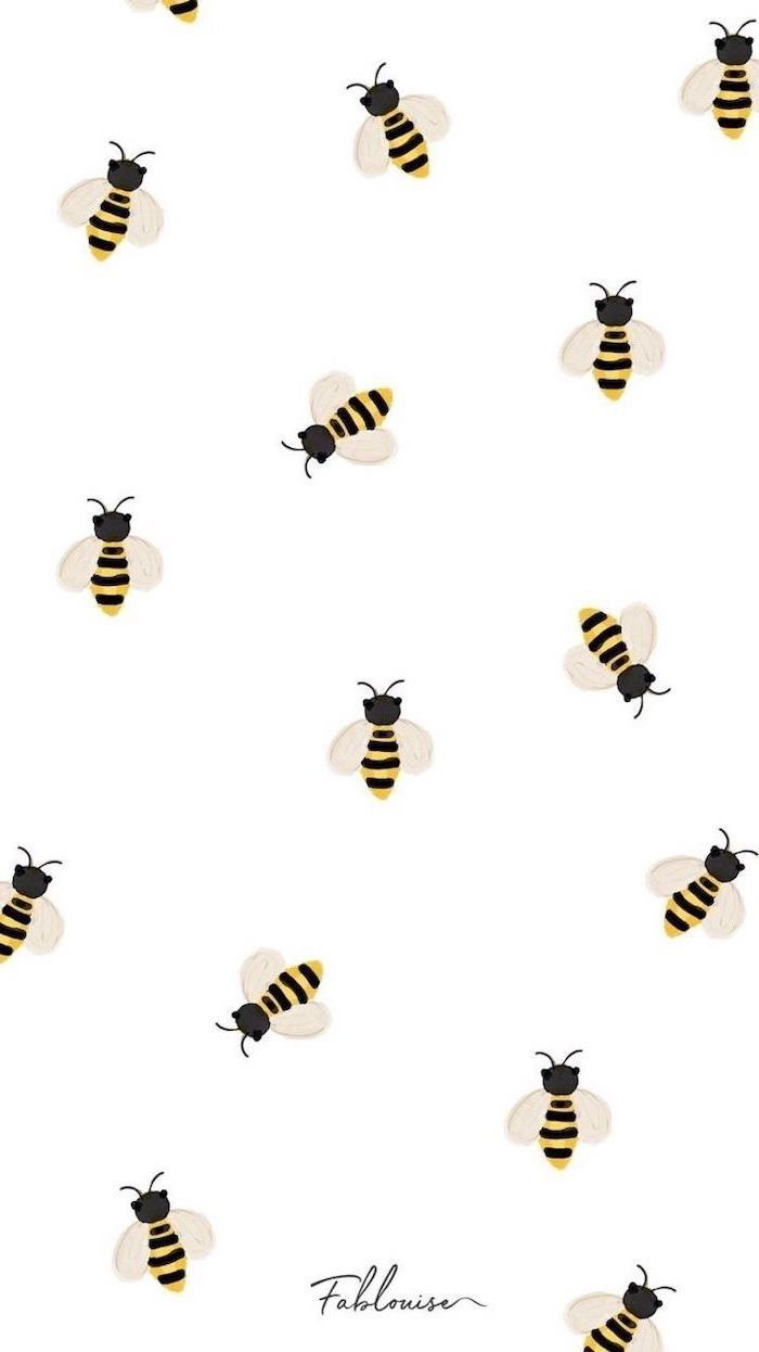 Drawing Of Bees On White Background Cool Wallpapers Iphone Background Wallpaper Cute Patterns Wallpaper Cute Girl Wallpaper