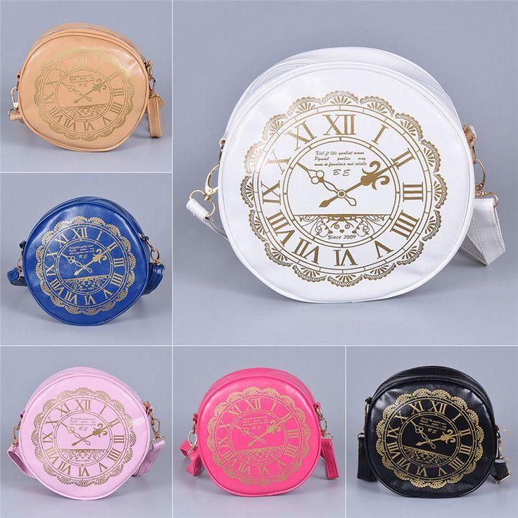 Novelty Clock Pattern Round Shoulder Bag Mini Handbag Women Girl Kawaii Gift 1X