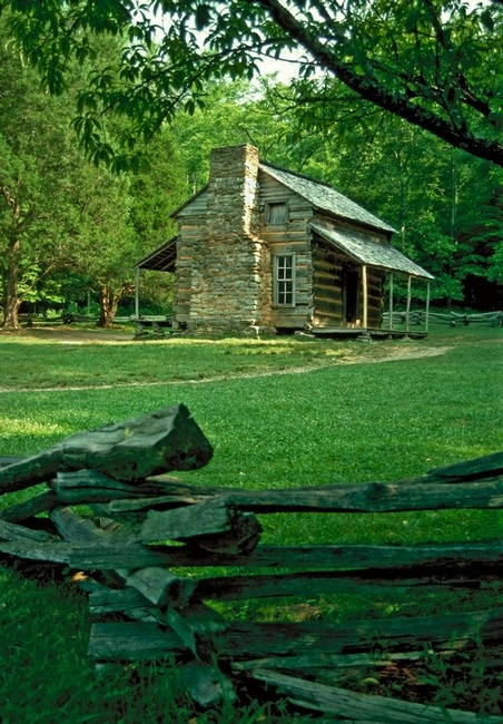 Cades Cove, Tennessee.  I loved these old cabins and the land was stunning.  Sometimes I wish I lived in those times....I could be a pioneer woman :)