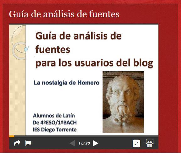 """Santiago García López ha realizado un gran trabajo para la actividad """"5.1 Guías de análisis de fuentes"""".  Título: """"La nostalgia de Homero: Guía de análisis de fuentes.""""   Enhorabuena y muchas gracias :)"""