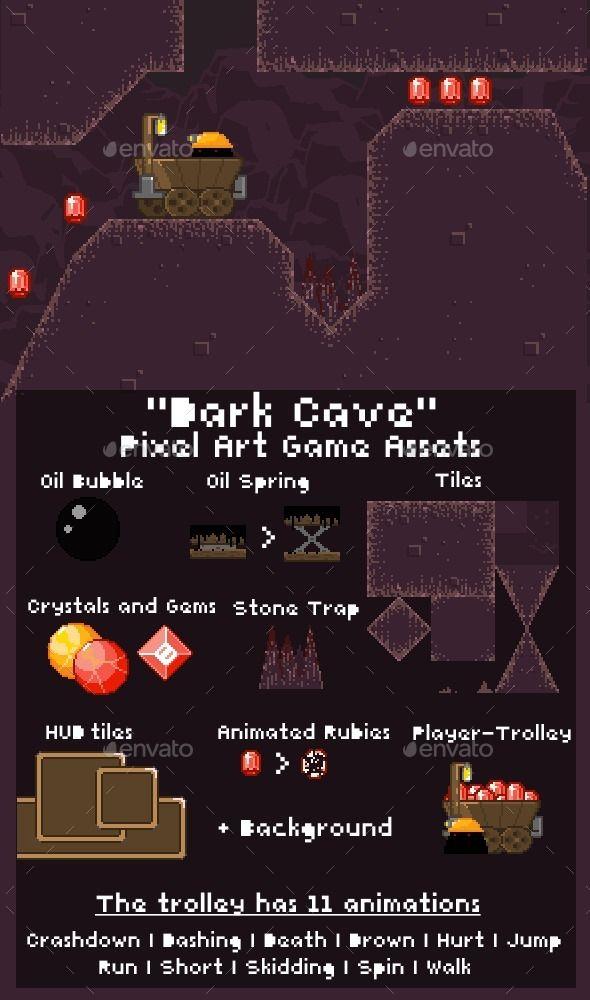 DarkCave - Pixel Art Game Assets - Sprites #Game Assets