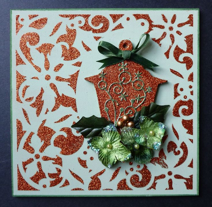 'Lantern' MDF wall hanging.   Imagination Craft's - Bright copper Sparkle Medium.  Christmas scrolls border stencil.  Lantern MDF Charm kit.  Magi-bond glue.  Soft sage Chalkies.  Chalk MDF paint.  Corner die - Memory Box.  Dark green Promarker pen.  October 2014.