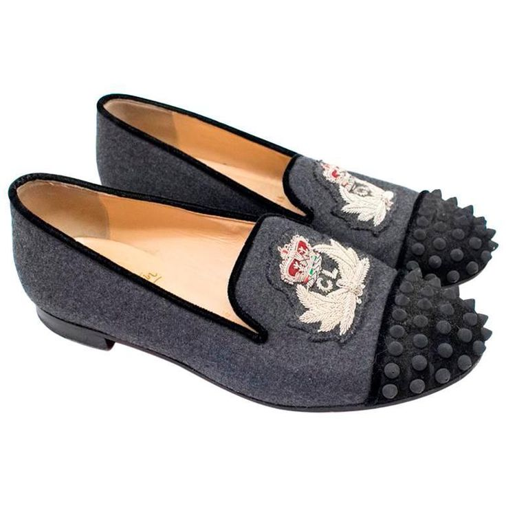 Christian Louboutin Ladies Grey Spiked Embroidered Loafers | From a collection of rare vintage shoes at https://www.1stdibs.com/fashion/accessories/shoes/