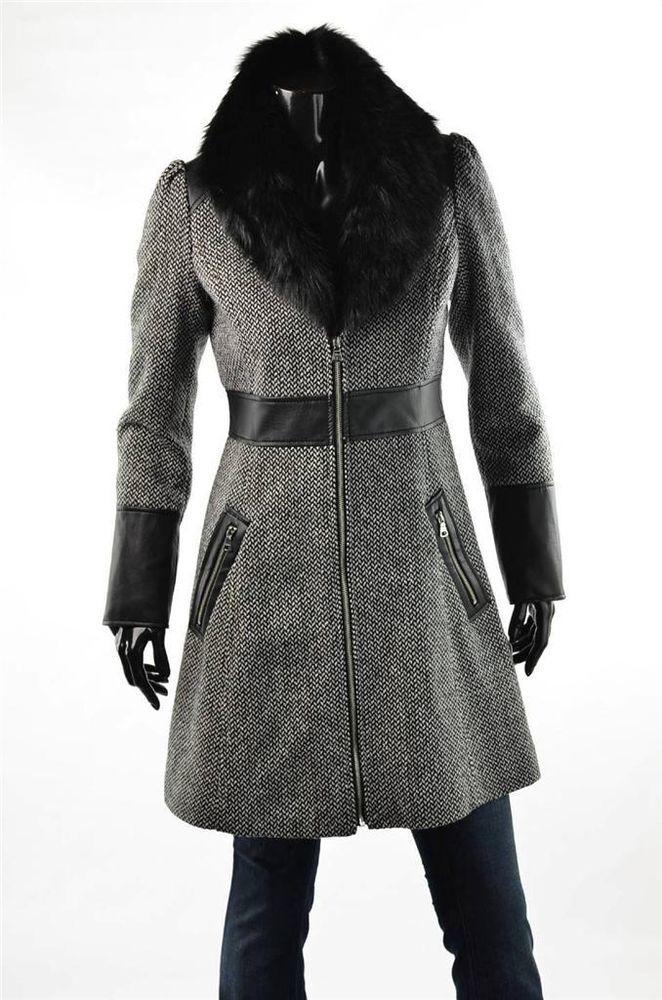 Guess Coat Womens Outerwear Wool Herringbone Black Faux